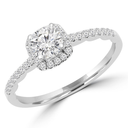 Round Cut Diamond Multi-Stone 4-Prong Halo Engagement Ring with Round Diamond Accents in White Gold - #KAKO-W