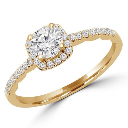 Round Cut Diamond Multi-Stone 4-Prong Halo Engagement Ring with Round Diamond Accents in Yellow Gold - #KAKO-Y