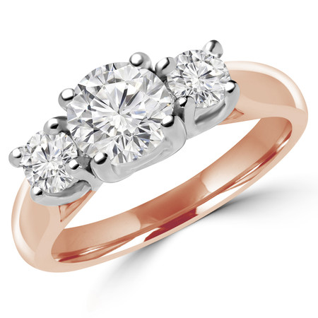 Round Cut Diamond Three-Stone 4-Prong Engagement Trellis-Set Ring in Rose Gold - #1965L-2398L-2522L-R