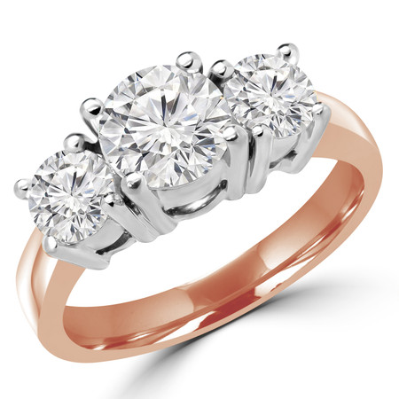 Round Cut Diamond Three-Stone 4-Prong Engagement Ring in Rose Gold - #871L-872L-873L-R