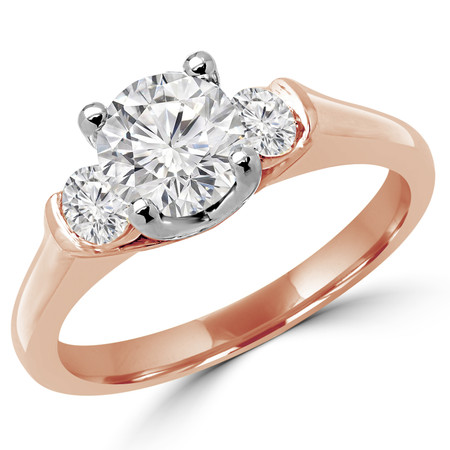 Round Cut Diamond Three-Stone 4-Prong & Bar-Set Engagement Ring in Rose Gold - #2182/83/84/L-R