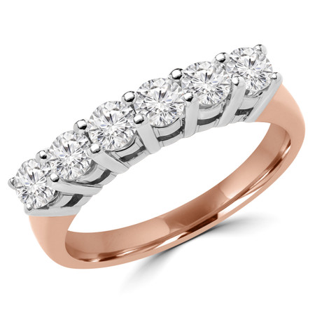 Round Cut Diamond Semi-Eternity Shared-Prong Wedding Band Ring in Rose Gold - #2208L-R