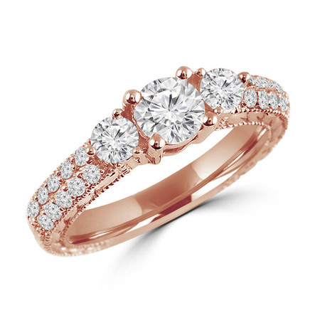 Round Cut Diamond Three-Stone 4-Prong Vintage Engagement Ring with Round Diamond Pave Accents in Rose Gold - #HR4735-R