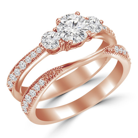 Round Cut Diamond Multi-Stone 4-Prong Trellis-Set Tapered-Shank Engagement Ring & Wedding Band Bridal Set with Round Diamond Accents in Rose Gold - #HR4746-A-B-R