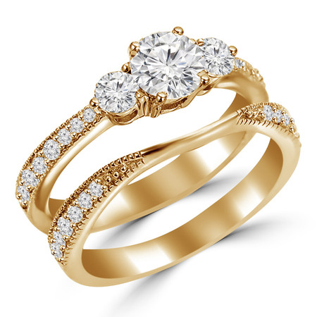 Round Cut Diamond Multi-Stone 4-Prong Trellis-Set Tapered-Shank Engagement Ring & Wedding Band Bridal Set with Round Diamond Accents in Yellow Gold - #HR4746-A-B-Y