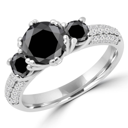 Round Cut Black Diamond Three-Stone 4-Prong Vintage Engagement Ring in White Gold - #HEIDI-BLK-W