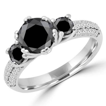 Round Cut Black Diamond Three-Stone 4-Prong Vintage Engagement Ring in White Gold - #HEIDI-BLK-W