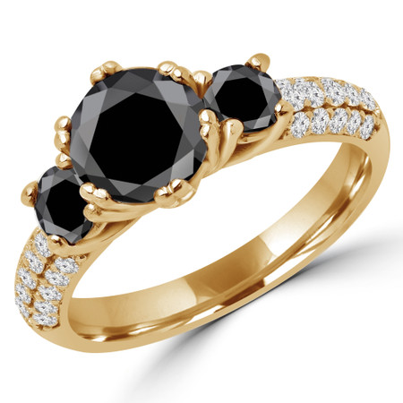 Round Cut Black Diamond Three-Stone 4-Prong Vintage Engagement Ring in Yellow Gold - #HEIDI-BLK-Y