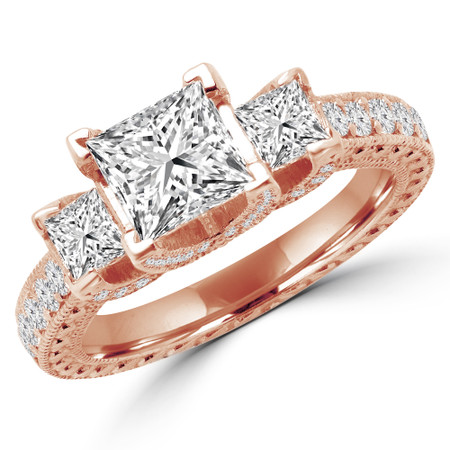 Princess Cut Diamond Three-Stone 4-Prong Vintage Engagement Ring in Rose Gold - #CARMEN-R