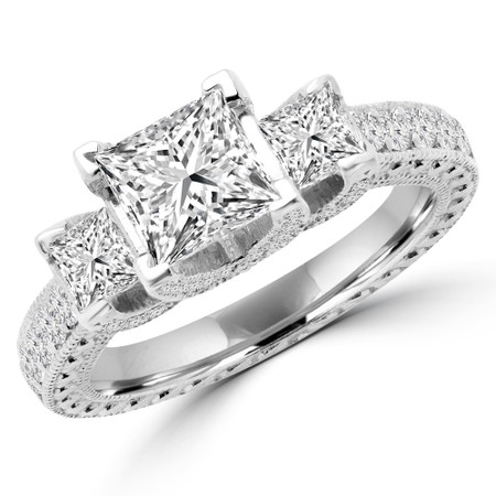 Princess Cut Diamond Three-Stone 4-Prong Vintage Engagement Ring in White Gold - #CARMEN-W