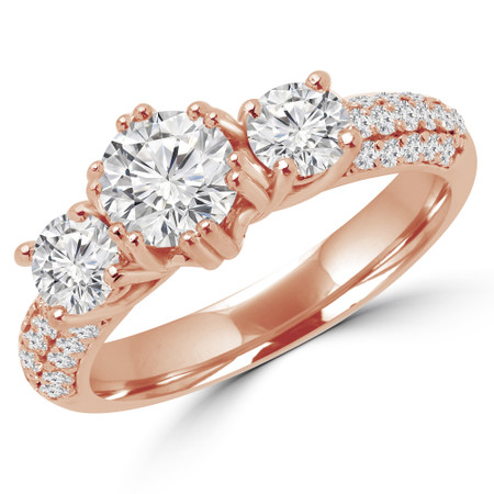 Round Cut Diamond Three-Stone 4-Prong Vintage Engagement Ring in Rose Gold - #HEIDI-R