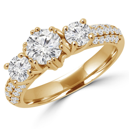 Round Cut Diamond Three-Stone 4-Prong Vintage Engagement Ring in Yellow Gold - #HEIDI-Y