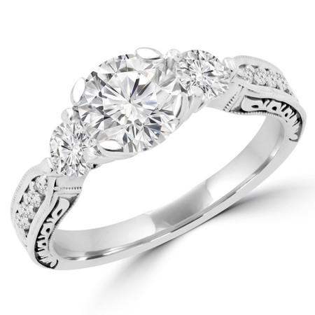 Round Cut Diamond Three-Stone 4-Prong Engagement Ring in White Gold - #MIRANDA-W