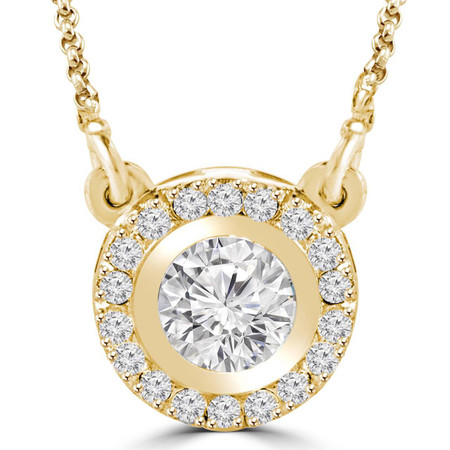 LISA - 2/3 CTW Round Diamond Halo Pendant Necklace in 14K Yellow Gold with Chain - #LISA-Y