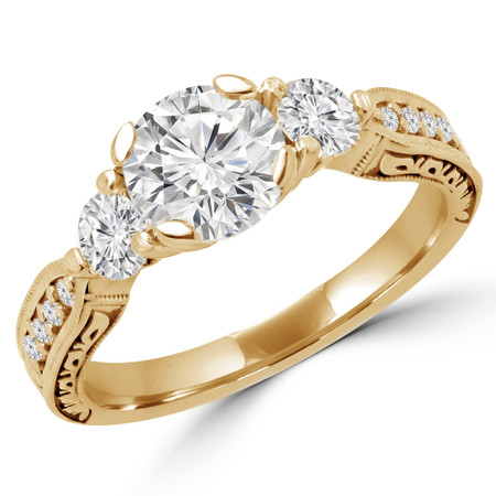 Round Cut Diamond Three-Stone 4-Prong Engagement Ring in Yellow Gold - #MIRANDA-Y