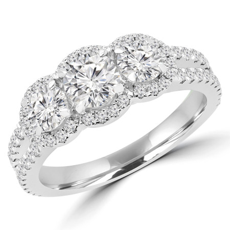 Round Cut Diamond Three-Stone 4-Prong Triple Halo Engagement Ring with Round Diamond Accents in White Gold - #LOIS-W