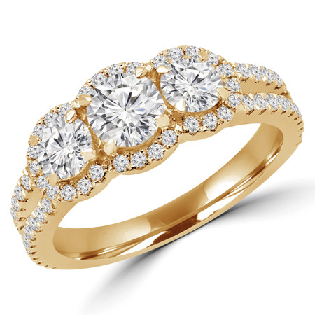 Round Cut Diamond Three-Stone 4-Prong Triple Halo Engagement Ring with Round Diamond Accents in Yellow Gold - #LOIS-Y