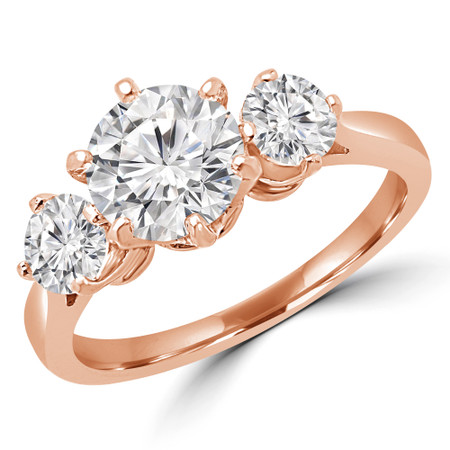 Round Cut Diamond Three-Stone 6-Prong Engagement Ring in Rose Gold - #JILL-R