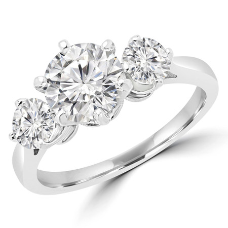 Round Cut Diamond Three-Stone 6-Prong Engagement Ring in White Gold - #JILL-W