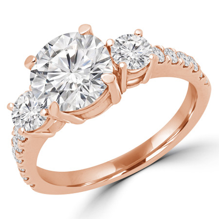 Round Cut Diamond Three-Stone 4-Prong Engagement Ring with Round Diamond Accents in Rose Gold - #LEDA-R