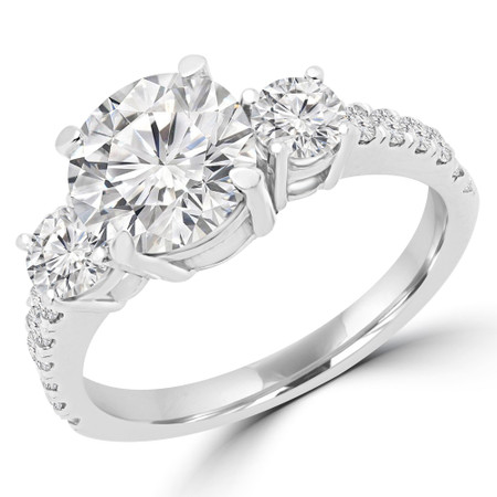 Round Cut Diamond Three-Stone 4-Prong Engagement Ring with Round Diamond Accents in White Gold - #LEDA-W