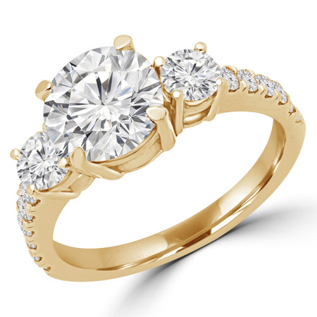 Round Cut Diamond Three-Stone 4-Prong Engagement Ring with Round Diamond Accents in Yellow Gold - #LEDA-Y