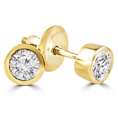 Round Cut Diamond Solitaire Bezel-Set Stud Earrings with Screwbacks in Yellow Gold - #ER1-Y