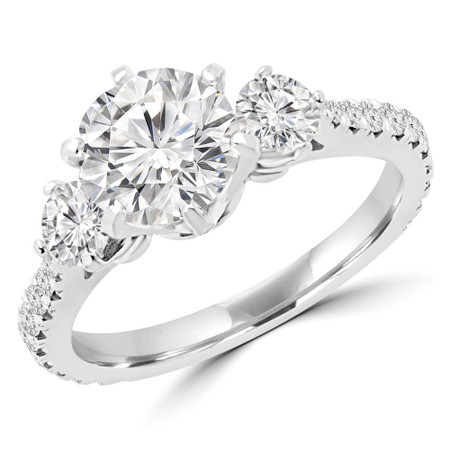 Round Cut Diamond Three-Stone Engagement Ring with Accents in White Gold - #QUANA-W