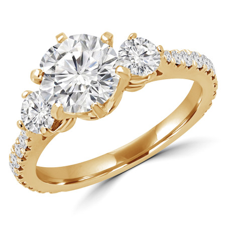 Round Cut Diamond Three-Stone Engagement Ring with Accents in Yellow Gold - #QUANA-Y