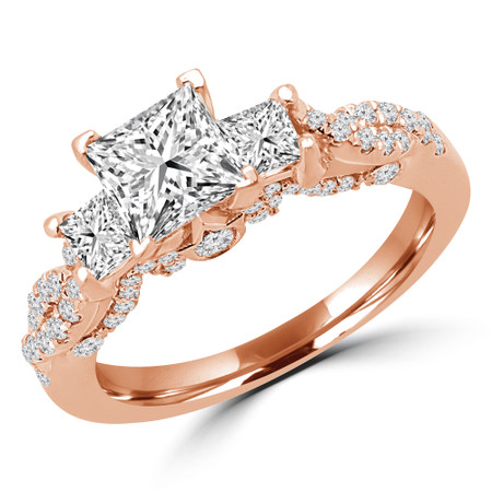 Princess Cut Diamond Three-Stone 4-Prong Vintage Engagement Ring in Rose Gold - #CORA-R