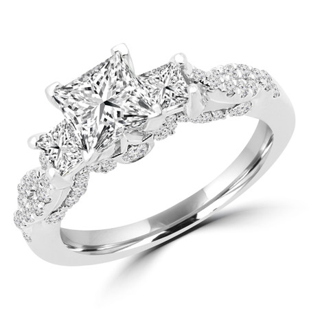 Princess Cut Diamond Three-Stone 4-Prong Vintage Engagement Ring in White Gold - #CORA-W