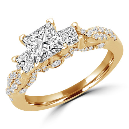 Princess Cut Diamond Three-Stone 4-Prong Vintage Engagement Ring in Yellow Gold - #CORA-Y
