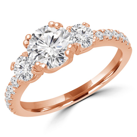 Round Cut Diamond Three-Stone 4-Prong Engagement Ring in Rose Gold - #MYRA-R