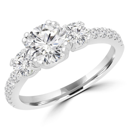 Round Cut Diamond Three-Stone 4-Prong Engagement Ring in White Gold - #MYRA-W