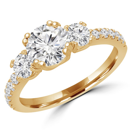 Round Cut Diamond Three-Stone 4-Prong Engagement Ring in Yellow Gold - #MYRA-Y