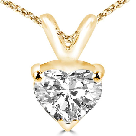 Heart Cut Diamond Solitaire 3-Prong Pendant Necklace with Chain in Yellow Gold - #PHF-Y