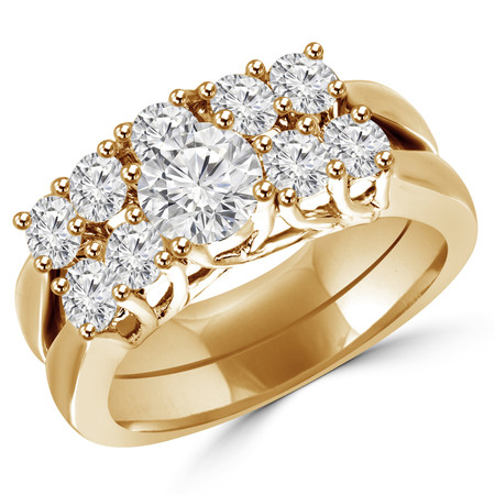 Round Cut Diamond Multi-Stone 4-Prong Trellis-Set Engagement Ring & Wedding Band Bridal Set in Yellow Gold - #HR7002-A-B-SET-Y