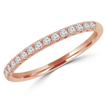 Round Cut Diamond Semi-Eternity Wedding Band Ring in Rose Gold - #DOUBLE-HALO-BAND-R
