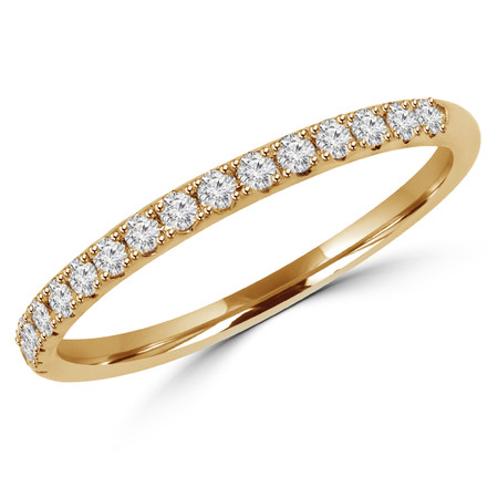 Round Cut Diamond Semi-Eternity Wedding Band Ring in Yellow Gold - #DOUBLE-HALO-BAND-Y