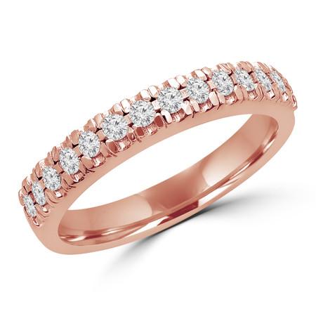 Round Cut Diamond Multi-Stone Semi-Eternity Scallop-Prong Wedding Band Ring in Rose Gold - #LOCAL-NOVO-B-R