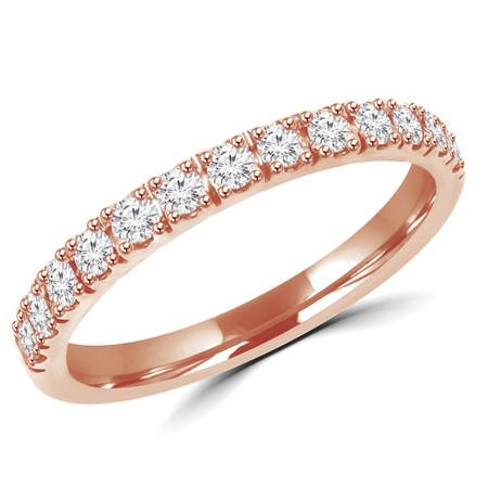 Round Cut Diamond Semi Eternity Band Ring in Rose Gold - #PAULO-B-R