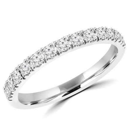 Round Cut Diamond Semi Eternity Band Ring in White Gold - #PAULO-B-W
