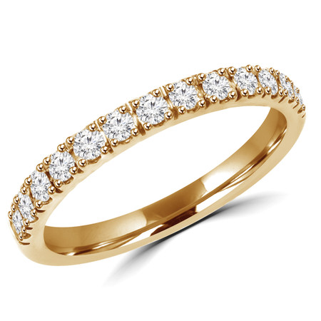 Round Cut Diamond Semi Eternity Band Ring in Yellow Gold - #PAULO-B-Y
