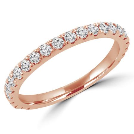 Round Cut Diamond Semi-Eternity Wedding Band Ring in Rose Gold - #ELIAS-BAND-R
