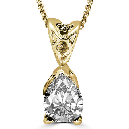 Pear Cut Diamond Solitaire 3-Prong Pendant Necklace with Chain in Yellow Gold - #PPF-Y