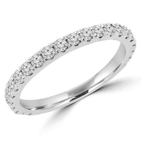 Round Cut Diamond Semi-Eternity Wedding Band Ring in White Gold - #ELIAS-BAND-W