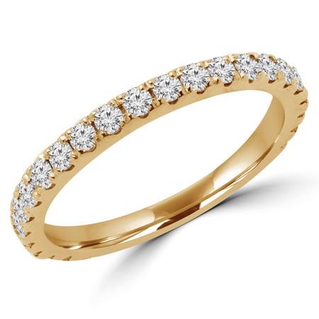 Round Cut Diamond Semi-Eternity Wedding Band Ring in Yellow Gold - #ELIAS-BAND-Y