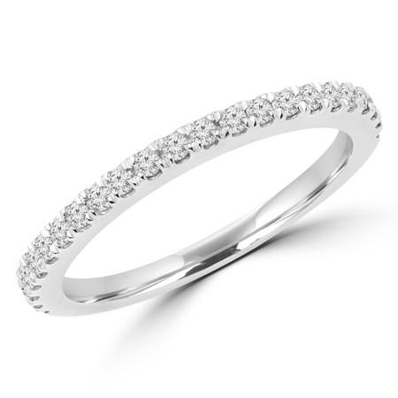 Round Cut Diamond Multi-Stone Semi-Eternity Wedding Band Ring in White Gold - #JENNA-B-W