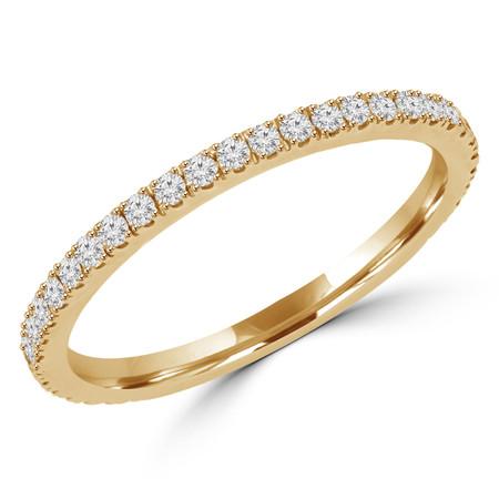 Round Cut Diamond Semi-Eternity Wedding Band Ring in Yellow Gold - #DR-CUSH-BAND-Y
