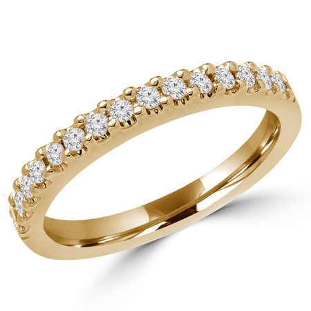 Round Cut Diamond Shared-Prong Wedding Band Ring in Yellow Gold - #2507WS-B-Y